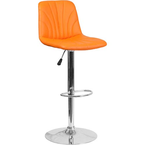 Parkside Contemporary Orange Vinyl Adjustable Height Barstool with Chrome Base