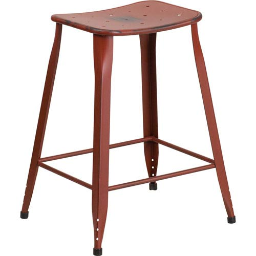 Parkside 24 In. High Distressed Kelly Red Metal Indoor Outdoor Counter  Height Stool