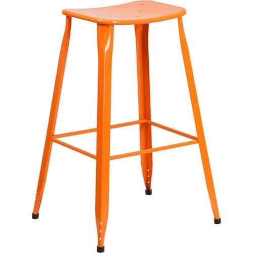 Parkside 30 In. High Orange Metal Indoor-Outdoor Barstool