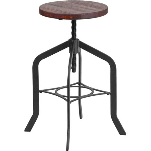 Parkside 24 In. Counter Height Stool with Swivel Lift Wood Seat