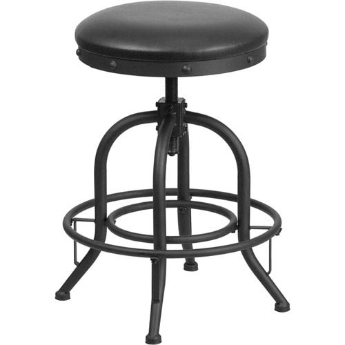 Parkside 24 In. Counter Height Stool with Swivel Lift Black Leather Seat