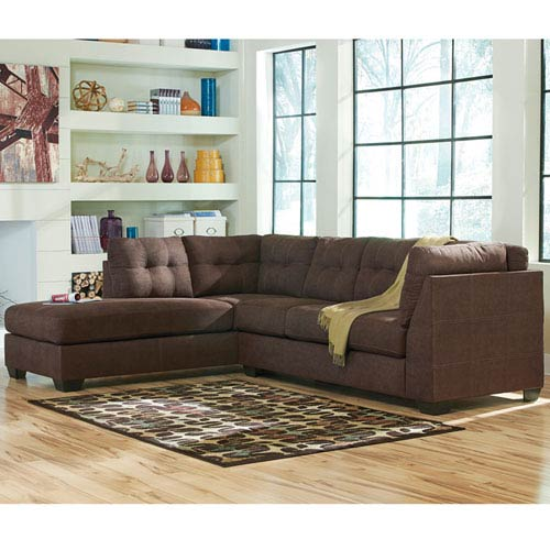 Parkside Margo Sectional with Left Side Facing Chaise in Walnut Microfiber