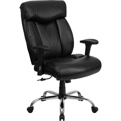 Series 400 lb. Capacity Big and Tall Black Leather Executive Swivel Office Chair with Height Adjustable Arms