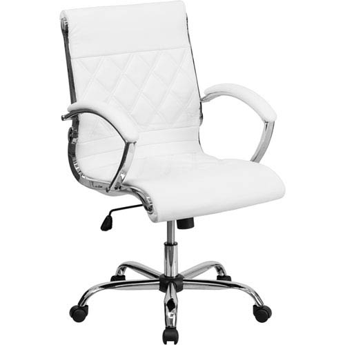 Mid-Back Designer White Leather Executive Swivel Office Chair with Chrome Base