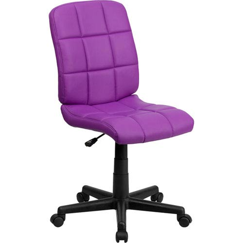 Mid-Back Purple Quilted Vinyl Swivel Task Chair
