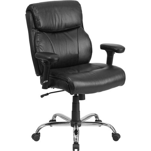 Series 400 lb. Capacity Big and Tall Black Leather Swivel Task Chair with Height Adjustable Arms
