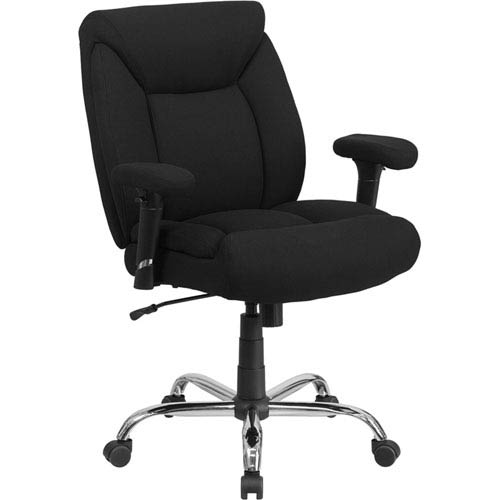 Series 400 lb. Capacity Big and Tall Black Fabric Swivel Task Chair with Height Adjustable Arms