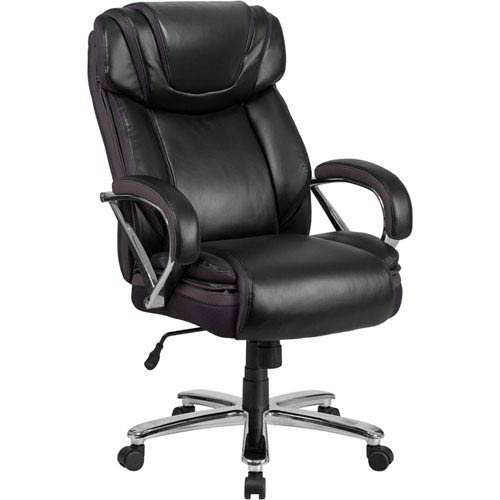 Series 500 lb. Capacity Big and Tall Black Leather Executive Swivel Office Chair with Extra Wide Seat