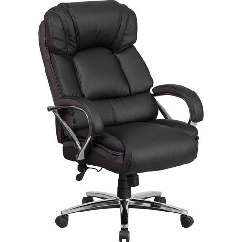 Series 500 lb. Capacity Big and Tall Black Leather Executive Swivel Office Chair with Padded Leather Chrome Arms