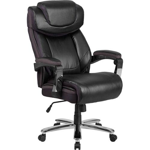 Series 500 lb. Capacity Big and Tall Black Leather Executive Swivel Office Chair with Height Adjustable Headrest
