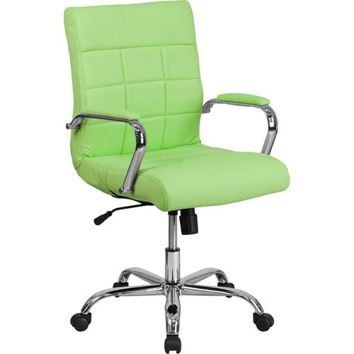 Mid-Back Green Vinyl Executive Swivel Office Chair with Chrome Arms
