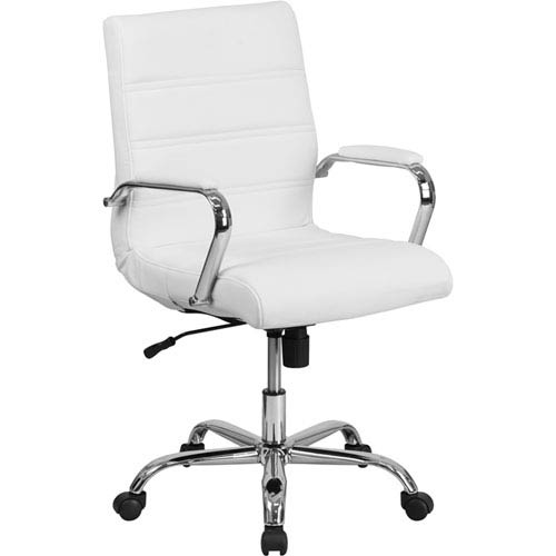 Parkside Mid-Back White Leather Executive Swivel Office Chair with Chrome Arms