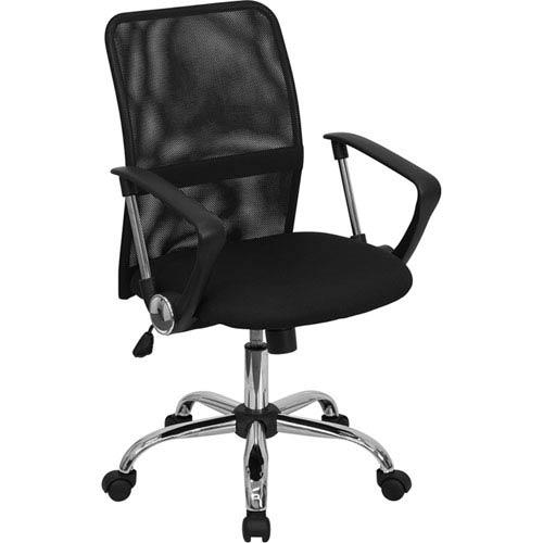 Mid-Back Black Mesh Swivel Task Chair with Chrome Base
