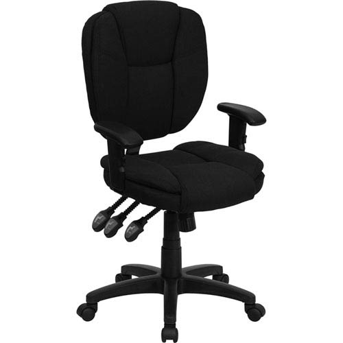 Parkside Mid-Back Black Fabric Multi-Functional Ergonomic Swivel Task Chair with Height Adjustable Arms