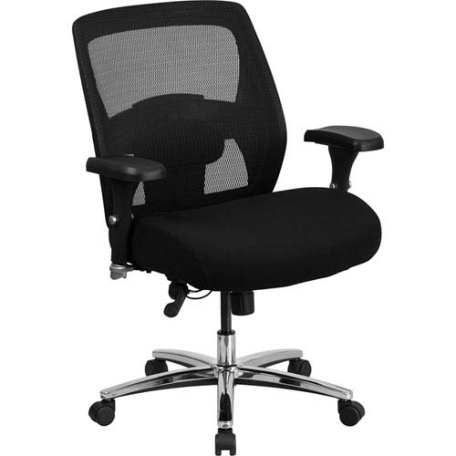 Series 24/7 Multi-Shift, Big and Tall 500 lb. Capacity Black Mesh Multi-Functional Executive Swivel Chair with Ratchet Back