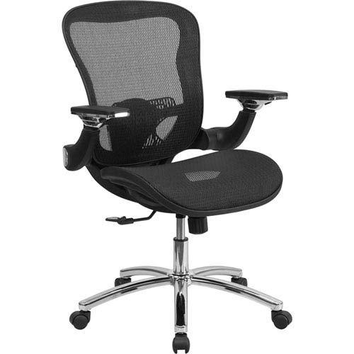 Mid-Back Black Mesh Executive Swivel Office Chair with Synchro-Tilt and Height Adjustable Flip-Up Arms