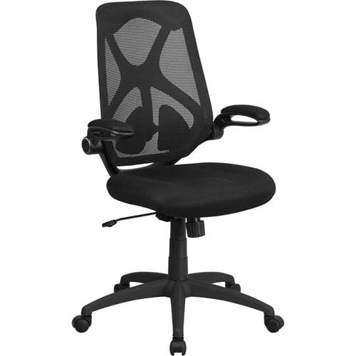 Parkside High Back Black Mesh Executive Swivel Office Chair with Padded Seat, Adjustable Lumbar, 2-Paddle Control and Flip-Up