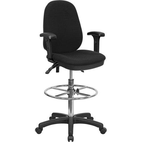 Black Multi-Functional Ergonomic Drafting Chair with Adjustable Foot Ring and Height Adjustable Arms