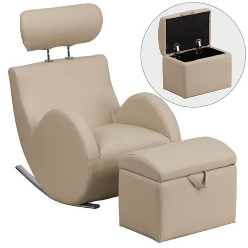 Series Beige Vinyl Rocking Chair with Storage Ottoman