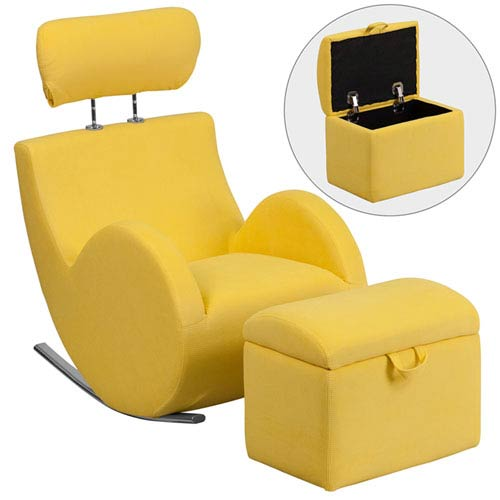 Series Yellow Fabric Rocking Chair with Storage Ottoman