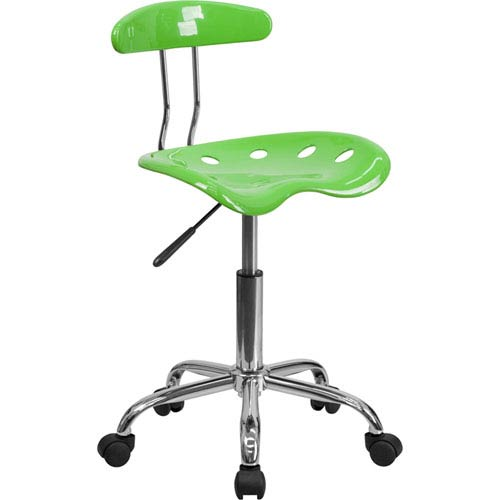 Parkside Vibrant Apple Green and Chrome Task Chair with Tractor Seat