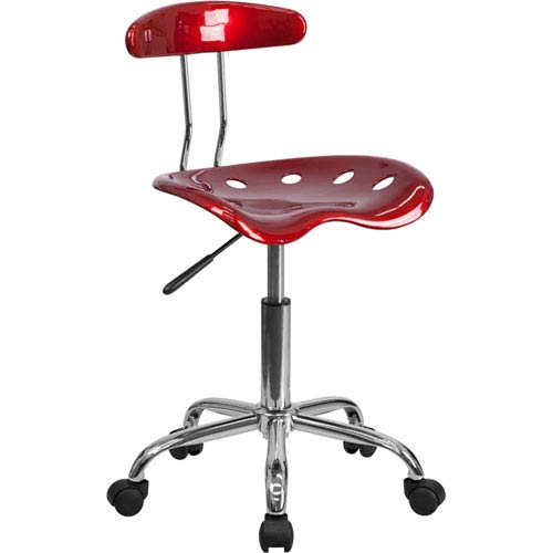 Vibrant Wine Red and Chrome Task Chair with Tractor Seat