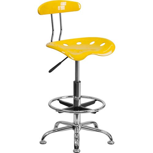 Vibrant Orange-Yellow and Chrome Drafting Stool with Tractor Seat