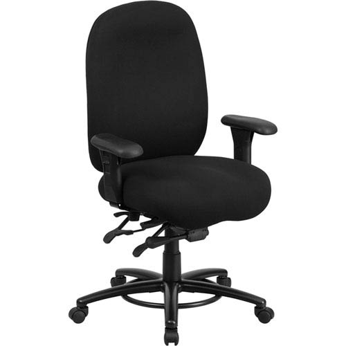 Series 24/7 Intensive Use, Multi-Shift, Big and Tall 350 lb. Capacity Black Fabric Multi-Functional Swivel Chair with Foot