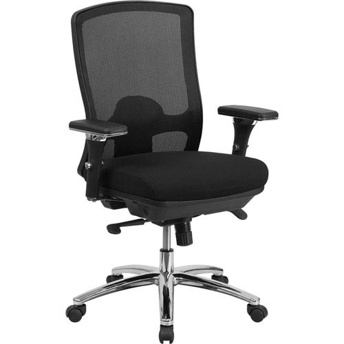 Series 24/7 Intensive Use, Multi-Shift, Big and Tall 350 lb. Capacity Black Mesh Multi-Functional Swivel Chair with
