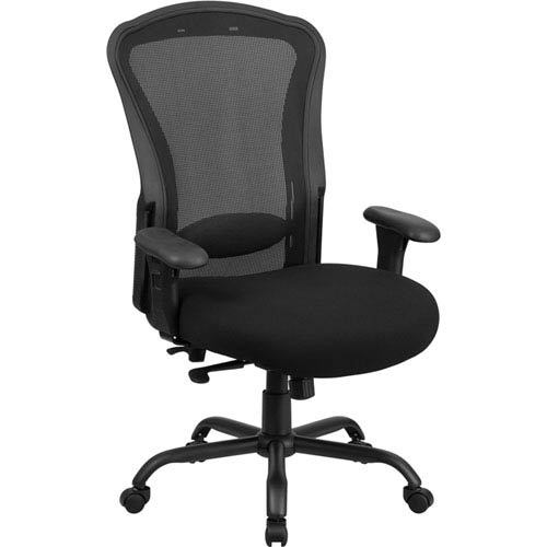 Series 24/7 Intensive Use, Multi-Shift, Big and Tall 400 lb. Capacity Black Mesh Multi-Functional Swivel Chair with
