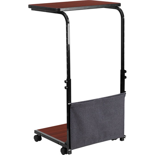 Mobile Sit-Down Stand-Up Mahogany Computer Desk with Removable Pouch (Adjustable Range 27 In. - 46.5 In. )