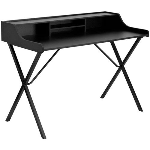 Parkside Black Computer Desk with Top Shelf