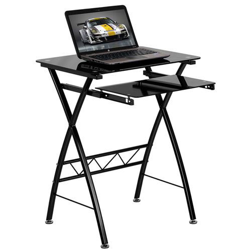 Parkside Black Tempered Glass Computer Desk with Pull-Out Keyboard Tray