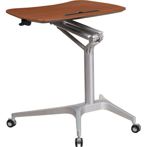 Mobile Sit-Down Stand-Up Mahogany Computer Desk with 28.25 In. W Top