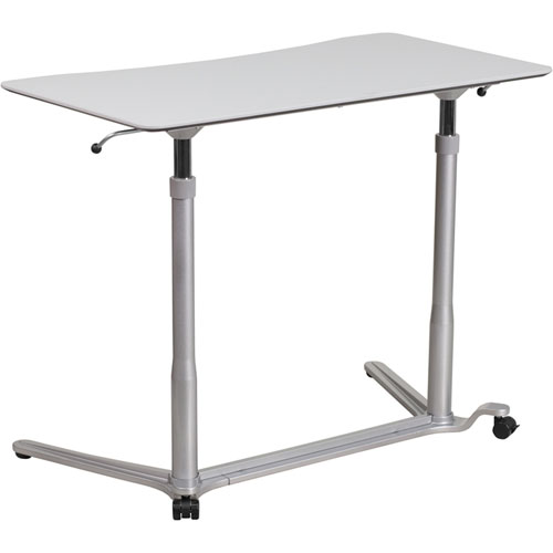 Parkside Sit-Down Stand-Up Light Gray Computer Desk with 37.375 In. W Top (Adjustable Range 29 In. - 40.75 In. )