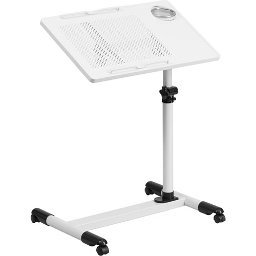 Parkside White Adjustable Height Steel Mobile Computer Desk