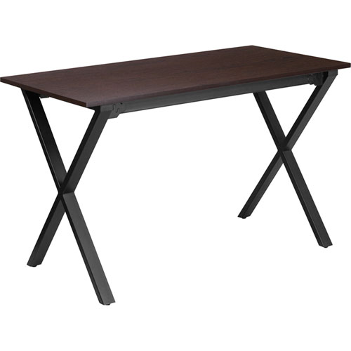 47.5 In. W x 23.75 In. D Walnut Computer Desk with Black Frame