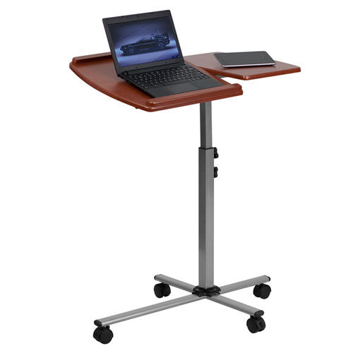 Parkside Angle and Height Adjustable Mobile Laptop Computer Table with Cherry Top