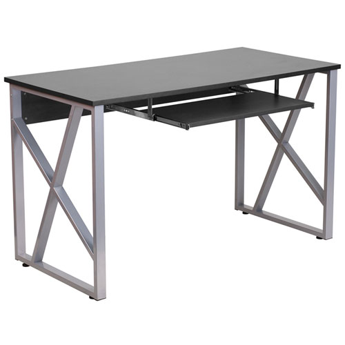 Parkside Black Computer Desk With Pull Out Keyboard Tray