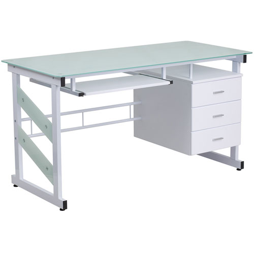 Parkside White Computer Desk with Three Drawer Pedestal