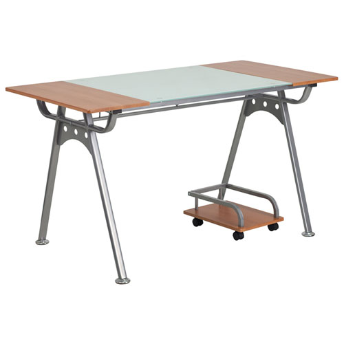 Parkside Computer Desk with Glass and Cherry Laminate Top