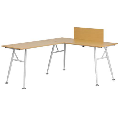 Beech Laminate L-Shape Computer Desk with White Frame Finish