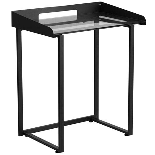 Parkside Contemporary Desk with Clear Tempered Glass and Black Frame