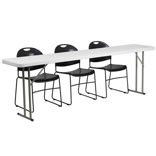 Parkside 18 In. x 96 In. Plastic Folding Training Table with 3 Black Plastic Stack Chairs
