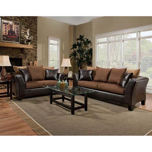 Parkside Chocolate Microfiber Living Room Set