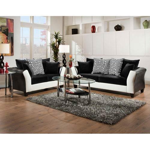 Lauren Series Black Velvet Living Room Set