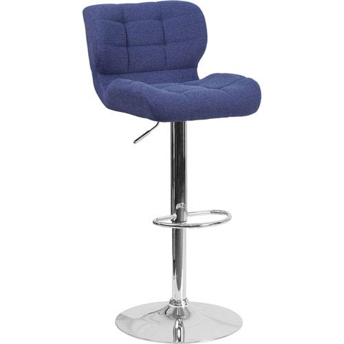 Parkside Contemporary Tufted Blue Fabric Adjustable Height Barstool with Chrome Base