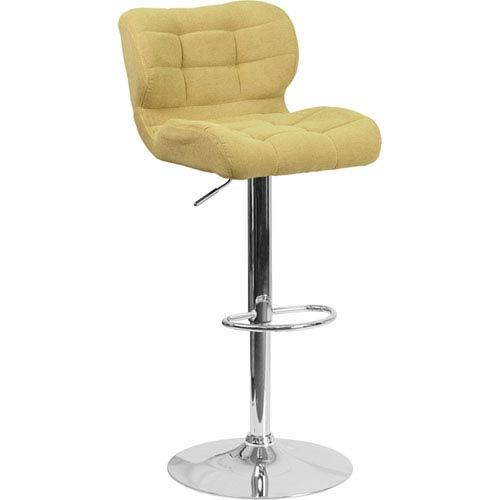 Parkside Contemporary Tufted Citron Fabric Adjustable Height Barstool with Chrome Base
