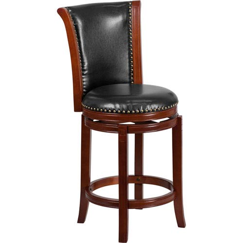 26 In. High Dark Chestnut Wood Counter Height Stool with Black Leather Swivel Seat
