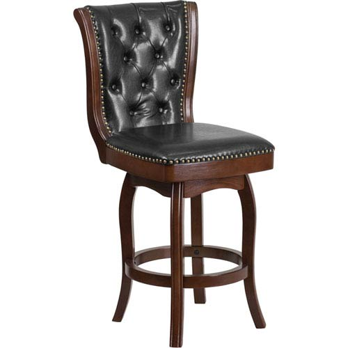 Parkside 26 In. High Cappuccino Wood Counter Height Stool with Black Leather Swivel Seat